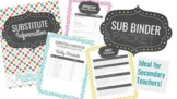 SUB BINDER TEMPLATE: Ideal for Secondary Teachers
