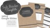 SUB BINDER Template: Burlap & Chalkboard, using Google Slides