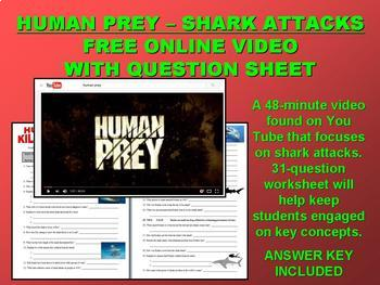 SUB PLAN 06 - SHARK ATTACKS (video / article / question sheet / puzzle)