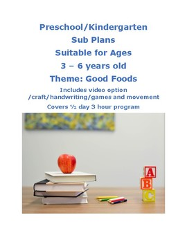 SUB PLANS Good Foods theme Lesson Plan Pre-k to Kinder Reggio Centers Play  Based