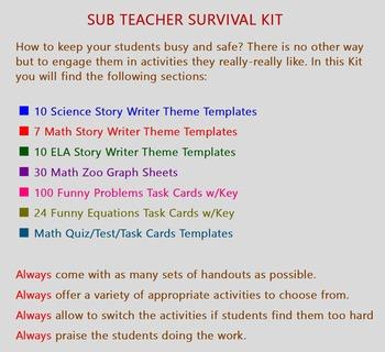 SUBSTITUTE TEACHER SURVIVAL KIT: 100 HANDOUTS SUB MUST ...