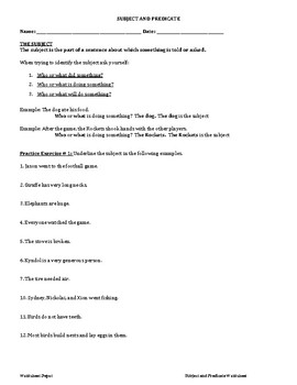 SUBJECT AND PREDICATE REVIEW