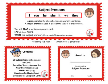 SUBJECT, OBJECT, POSSESSIVE PRONOUNS ...  BUNDLE ... Grades 3-4-5