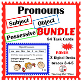 SUBJECT, OBJECT, POSSESSIVE PRONOUNS BUNDLE $$$ Grades 3-4-5 PLUS Boom Learning™