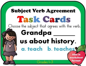 Singular and Plural Nouns with Matching Verbs