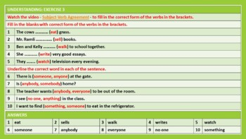 SUBJECT-VERB AGREEMENT: LESSON PLAN & RESOURCES