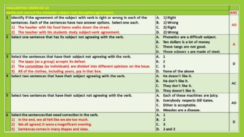 SUBJECT-VERB AGREEMENT - TEACHING RESOURCES: LESSON PRESENTATION