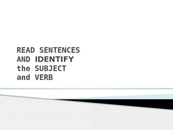 SUBJECT VERB PowerPoint