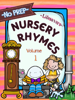 SUBSTITUTE LESSON PLANS {NO PREP} NURSERY RHYMES - VOL 1
