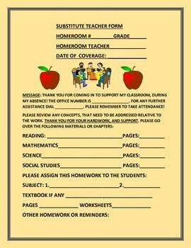 SUBSTITUTE TEACHER FORM/ ALL GRADES