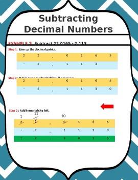 SUBTRACTING DECIMAL NUMBERS