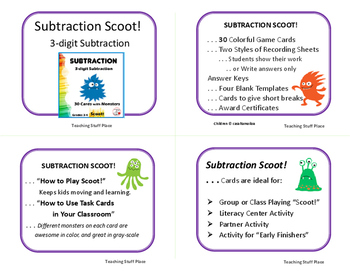 SUBTRACTION | 3-digit Subtraction | SCOOT! Game  |Regrouping | Gr. 3-4 MATH