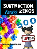 SUBTRACTION ACROSS ZEROS ON A GRID WORKSHEETS AND TASK CARDS BUNDLE