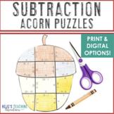 SUBTRACTION Acorn Fall Activities | Fall Math Centers | Make a FUN Fall Craft!
