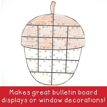 SUBTRACTION Acorn Activity   Make a FUN Fall Craft, Puzzle, or Game!