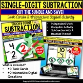 SUBTRACTION BUNDLE Touch and Count BASEBALL NO PRINT DIGITAL and TASK CARDS