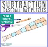 SUBTRACTION Baseball Math Project Game - FUN Sports Theme Classroom Supplement