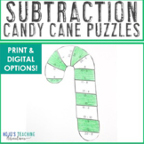 SUBTRACTION Candy Cane Puzzles | Christmas Coloring Sheet Alternative or Games