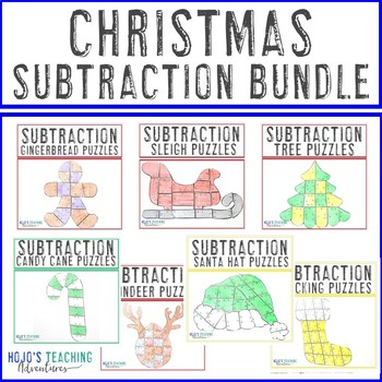 SUBTRACTION Christmas Math Games - SEVEN Puzzles in One Download!