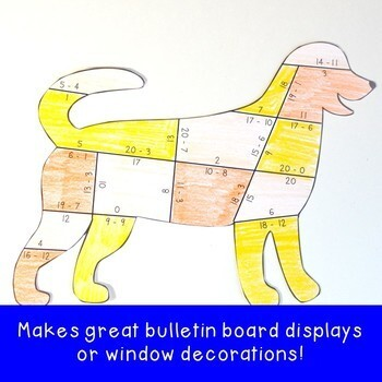 SUBTRACTION Dog Math Game Activity: FUN Dog Decor Classroom Supplement or Add On