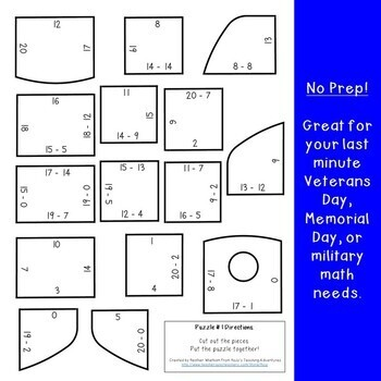 SUBTRACTION Dog Tag Puzzles | Veterans Day Math Activity or Center