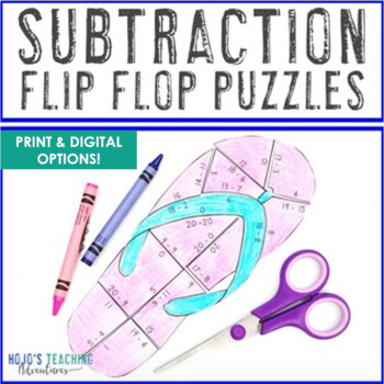 SUBTRACTION Flip Flop Puzzles | Spring Activities or Summer Math Centers