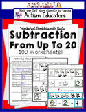 SUBTRACTION WORKSHEETS for Students with Autism with VISUAL DIRECTIONS