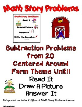 SUBTRACTION FROM 20 MATH WORD PROBLEMS *FARM UNIT* - READ.DRAW.ANSWER IT!