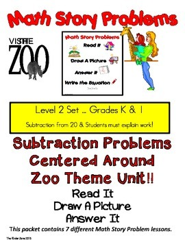 SUBTRACTION FROM 20 MATH WORD PROBLEMS ** ZOO UNIT** READ.DRAW.ANSWER IT!!