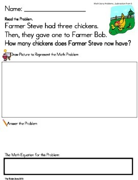 SUBTRACTION FROM 5 MATH WORD PROBLEMS *FARM UNIT* --READ.DRAW.ANSWER IT!!