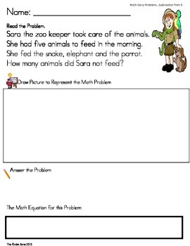 SUBTRACTION FROM 5 MATH WORD PROBLEMS **ZOO UNIT** -- READ.DRAW.ANSWER IT!!!