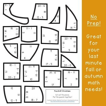 SUBTRACTION Fall Activities | Leaf Shape Math Puzzles | Tree Study Supplement