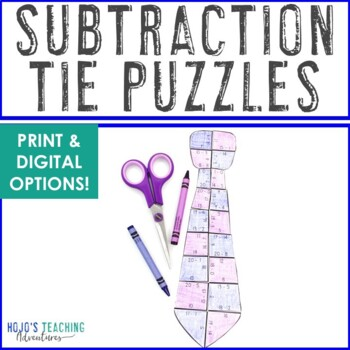 SUBTRACTION Tie Puzzles | Fathers Day Math Centers, Games, or Activities