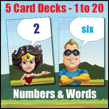 Subtraction Game - 5 Number Card Decks -Top or Tail-  Practice Subtraction Facts