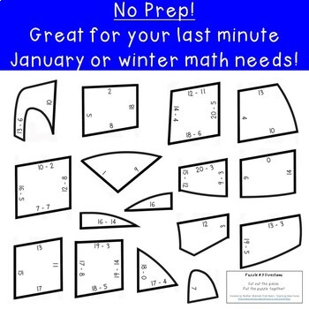 SUBTRACTION Igloo Winter Math Puzzles | FUN Winter Math Activities or Games