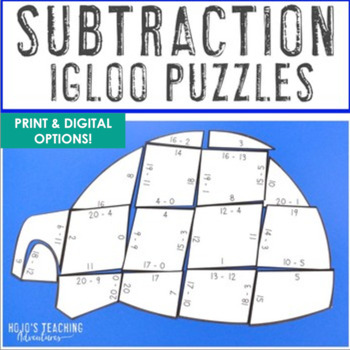 SUBTRACTION Igloo Winter Math Puzzles | FUN Snow Day Activities or Games