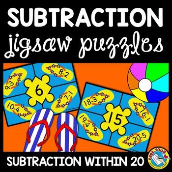 SUBTRACTION ACTIVITIES: SUMMER THEME SUBTRACTION PUZZLES: SUBTRACTION CENTER