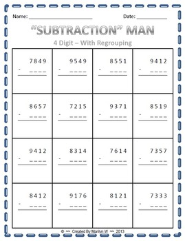 """SUBTRACTION"" MAN - Subtraction with Regrouping Game"
