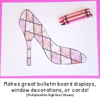 SUBTRACTION High Heel Puzzles | Make a Mothers Day Card or use as Math Review