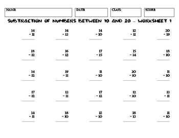SUBTRACTION OF NUMBERS BETWEEN 10 AND 20 – Worksheet 1