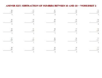 SUBTRACTION OF NUMBERS BETWEEN 10 AND 20 – Worksheet 2