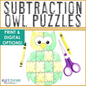 SUBTRACTION Owl Math Puzzles | Fall Themed Activity Centers | Fall Math Centers