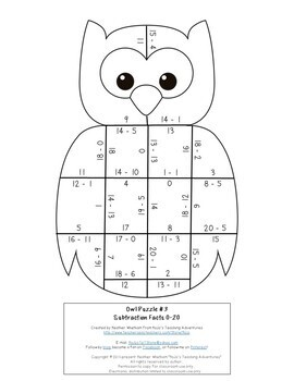 SUBTRACTION Owl Theme Math Worksheet Alternatives   Fall Activities or Games