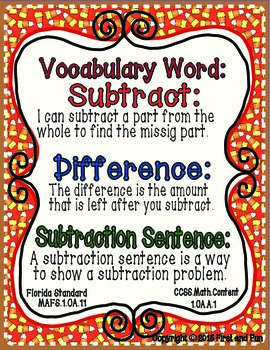 SUBTRACTION PART PART WHOLE AUTUMN MAT COUNTERS WORKSHEETS COMMONN CORE MAFS