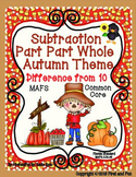 SUBTRACTION PART PART WHOLE AUTUMN MAT COUNTERS WORKSHEETS