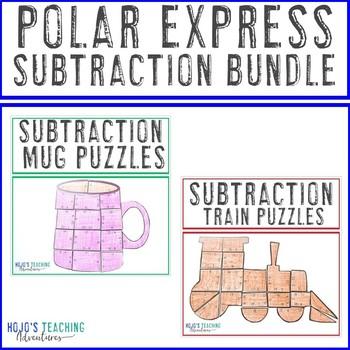 SUBTRACTION Polar Express Math Games | Hot Cocoa Mug & Train Activity Puzzles