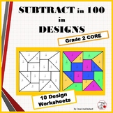SUBTRACTION Problems | Color by Number Geometric Design Worksheets | MATH Gr. 2
