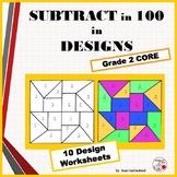 SUBTRACTION Problems ... Color by Number Geometric Design Worksheets  MATH Gr. 2