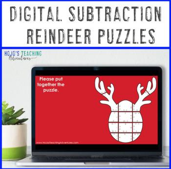 SUBTRACTION Reindeer Math Puzzles | Christmas Worksheet Alternatives or Games
