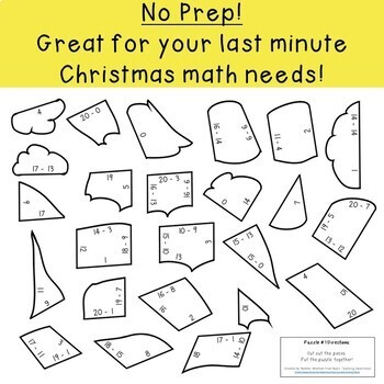 SUBTRACTION Santa Hat Puzzles - Christmas or Winter Mystery Math Picture